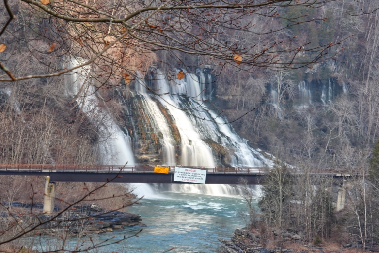 Twin Falls pouring into the Caney Fork River