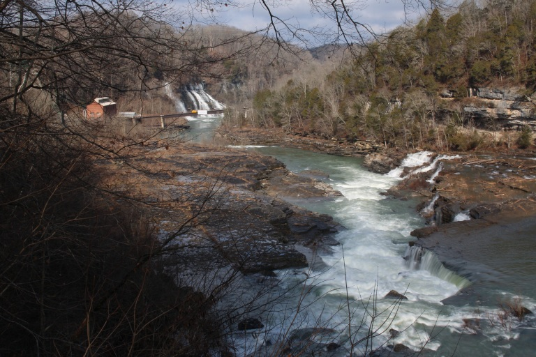 Great Falls on the Caney Fork River with Twin Falls downstream